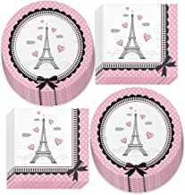 Paris Party Supplies - French Theme Paper Dessert Plates and Beverage Napkins (Serves 16)