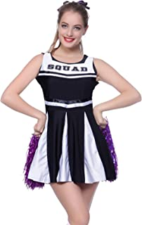 Anladia Womens High School Musical Cheerleader Girls Uniform Costume Outfit with Pompoms (L US 10 12 Blue)