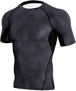 MODOQO Men's Short Sleeve Compress T-Shirt Casual Slim Fit Tee Top for Workout Sports Fitness