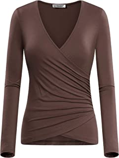 GUBERRY Women s Deep V Neck Long Sleeve Unique Cross Wrap Sexy Slim Fit Tops 156a09a6a07