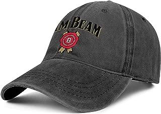 Jim-Beam-Logo for Women Cowboys Cap Classic Dyed Unisex Fishing Jeans Caps
