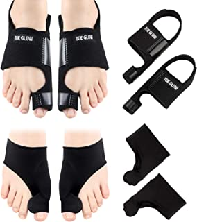 Bunion Corrector & Bunion Relief Protector Sleeves Kit - 4 Pieces Bunion Splints Big Toe Straightener for Hallux Valgus Aid Surgery (Black + Black, L(Women Size 7.5-11/Men Size 6-10))