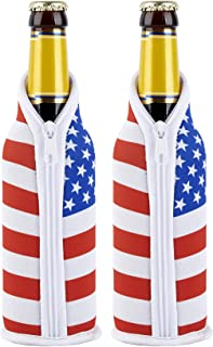 TahoeBay US Flag Premium Thermal Sleeve Set for Cans and Bottles (Bottle, 2-Pack)
