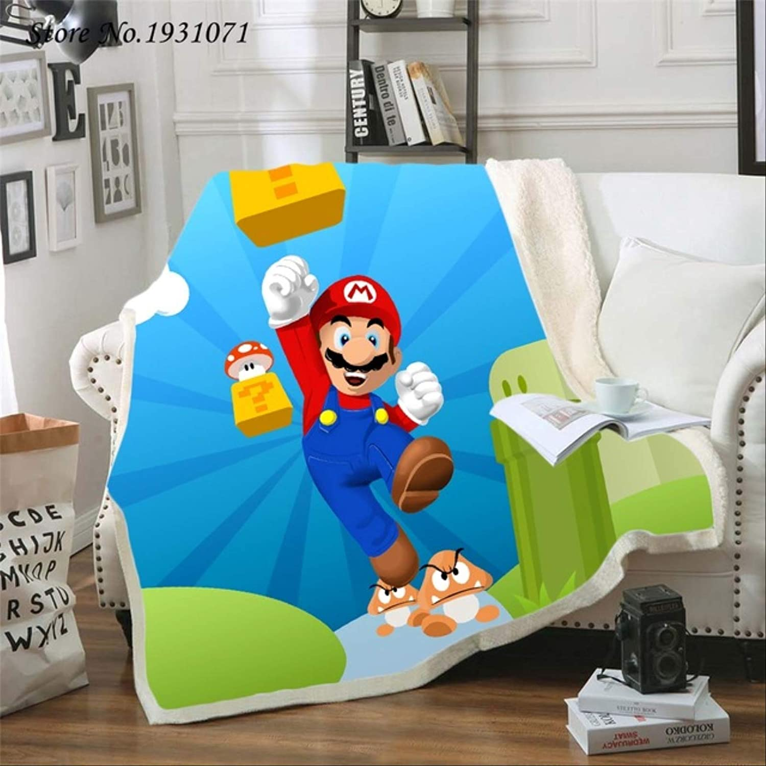 Ranking TOP8 NC56 New Super Mario 3D Sale item Printed Beds for Fleece Blanket Qu Thick