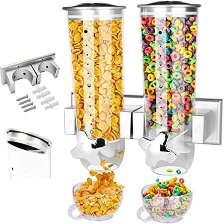 Food Dispensers 2 PACK Wall Mount Double Dry Cereal Dispenser, Convenient Storage Dual Control for Cereal Nuts, Coffee Beans Trail Mix Candy Oatmeal Rice Pasta Candy Container, 7.5oz Each Cereals Bank