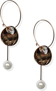 BeautyVibe Rose Gold Plated Titanium Drop Dangle Hoop Detachable Customized Earrings for Women and Girls