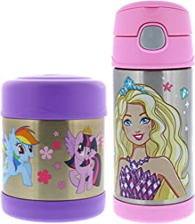 Thermos FUNtainer Vacuum Insulated Stainless Steel 10oz Food Jar & 12oz Water Bottle w/Straw Set - Tasteless and Odorless, BPA Free, Great for Children, Lunchbag, Travel - My Little Pony and Barbie