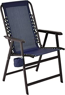Giantex Portable Folding Outdoor Arm Beach Chair W/ Cup Holder Fishing Camping (Navy)