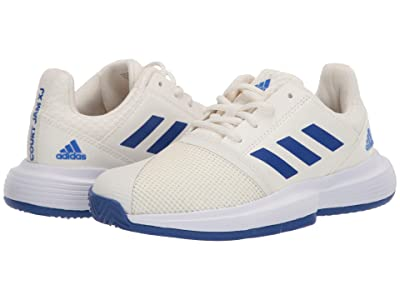 adidas Kids CourtJam X Tennis (Little Kid/Big Kid) (Off-White/Team Royal Blue/White) Kids Shoes