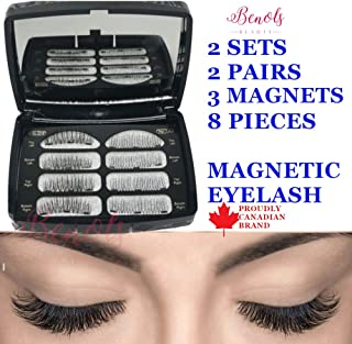 Benols Beauty Pack of 8pcs, 2 Pairs, 2 Style Magnetic Eyelashes, Dual Fake False Lashes Ultra Thin Magnets, 3D Premium Fiber Reusable Extension for Natural Look (2 Pairs/ 3 Magnets)