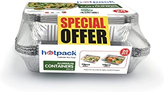 Hotpack Aluminium Container, 10 x 890 ml + 10 x 1200 ml