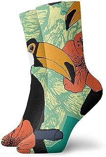Novedad tucanes de calcetines divertidos con flor rosa Calcetines deportivos deportivos impresos Calcetines de regalo personalizados de 30 cm de largo