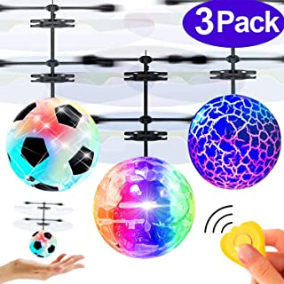 3 Pack Kids Flying Ball RC Toys, Hand Operated Mini Drones with Lights Recharge Holiday Toy for Boys Age 6-14 Infrared Induction Helicopter Remote Controller Indoor Outdoor Sports Toy Christmas Gift