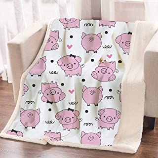 ARIGHTEX Cute Pig Blanket Girls Pink Pigs Fleece Blanket Animal Sherpa Plush Throw Blanket for Couch Bed Sofa(50 x 60 Inches)
