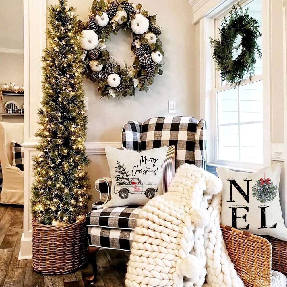 Home Noel Truck Christmas Tree Rustic Winter Holiday Throw Pillows Farmhouse Christmas Decor for Home AENEY Christmas Pillow Covers 18x18 Set of 4 Xmas Decorations Cushion Cases for Couch A311-18