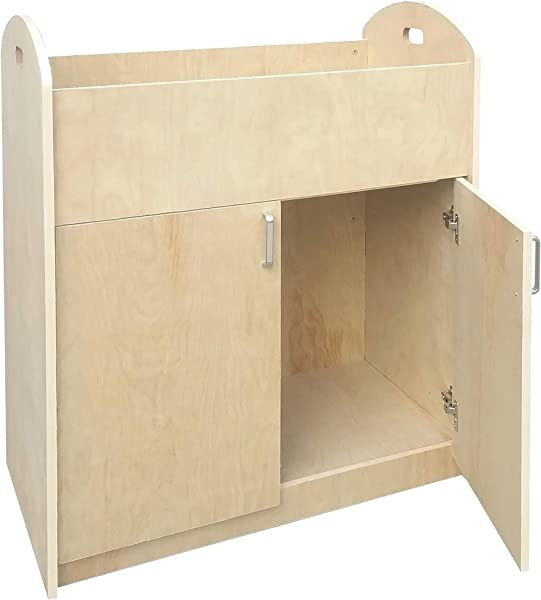 FixtureDisplays Children Infant Changing Table With Pad Wooden Changing Table Natural 18541 BIRCH