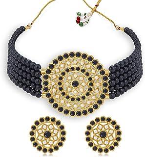Sukkhi Elegant Gold Plated Green & White Pearl Choker Necklace Set for Women (SKR70439), free size