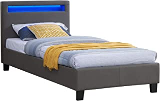 IDIMEX Lit Simple pour Adulte ou Enfant LUCENO Couchage 90 x 190 cm avec sommier 1 Place pour 1 Personne, tête de lit avec...