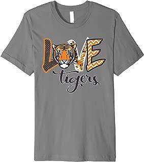 Love Tigers School Mascot Orange Black School Spirit Tshirt