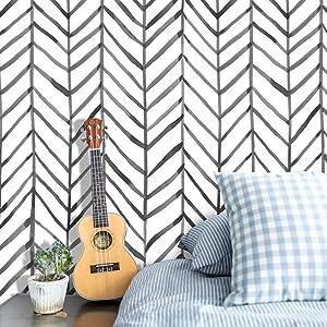 Peel and Stick Wallpaper,LCHOM Self Adhesive Herringbone Wallpaper for Home Improvement,Wall Decorative,Furniture Renovation,Black White Vinyl Wallpaper (1.48ft x 19.6ft)
