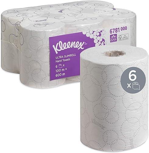 Kleenex 6781 Essuie-mains roulés Ultra Slimroll, 6 rouleaux de 100 m, Feuilles en papier 2 plis, Technologie absorban...