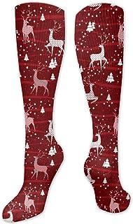 Deer Red Compression Socks Athletic Long Crew Socks For Men Women And Kids