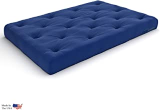 Nirvana Futons Extra Thick Premium 10-Inch Queen Futon Mattress, Royal Blue Twill - Made in USA