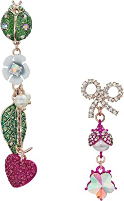 Betsey Johnson Ladybug and Flower Non-Matching Drop Earrings