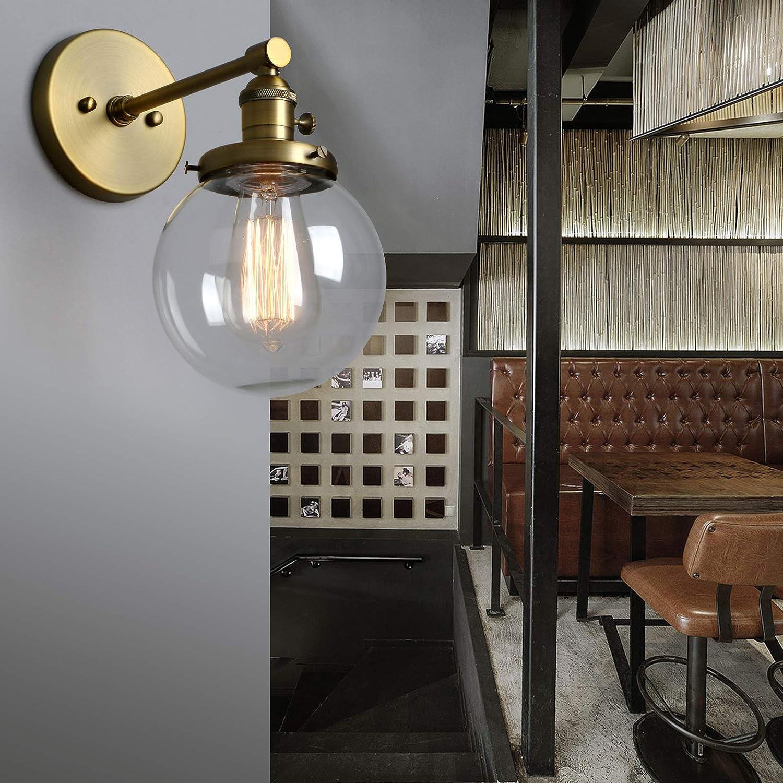 Phansthy innen Modernes runde klarglas Wandbeleuchtung Wandleuchten Vintage Industrie Loft-Wandlampen Antik Deko Design Wandbeleuchtung Küchenwandleuchte im Landhausstil (Schwarz Farbe) Antike Farbe