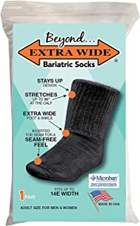 "Beyond Extra Wide Bariatric Sock for Extreme Lymphedema. Calf stretches up to 30"". Widest Bariatric Sock on the market. One Size Unisex Antimicrobial Made in USA!!! (Black)"
