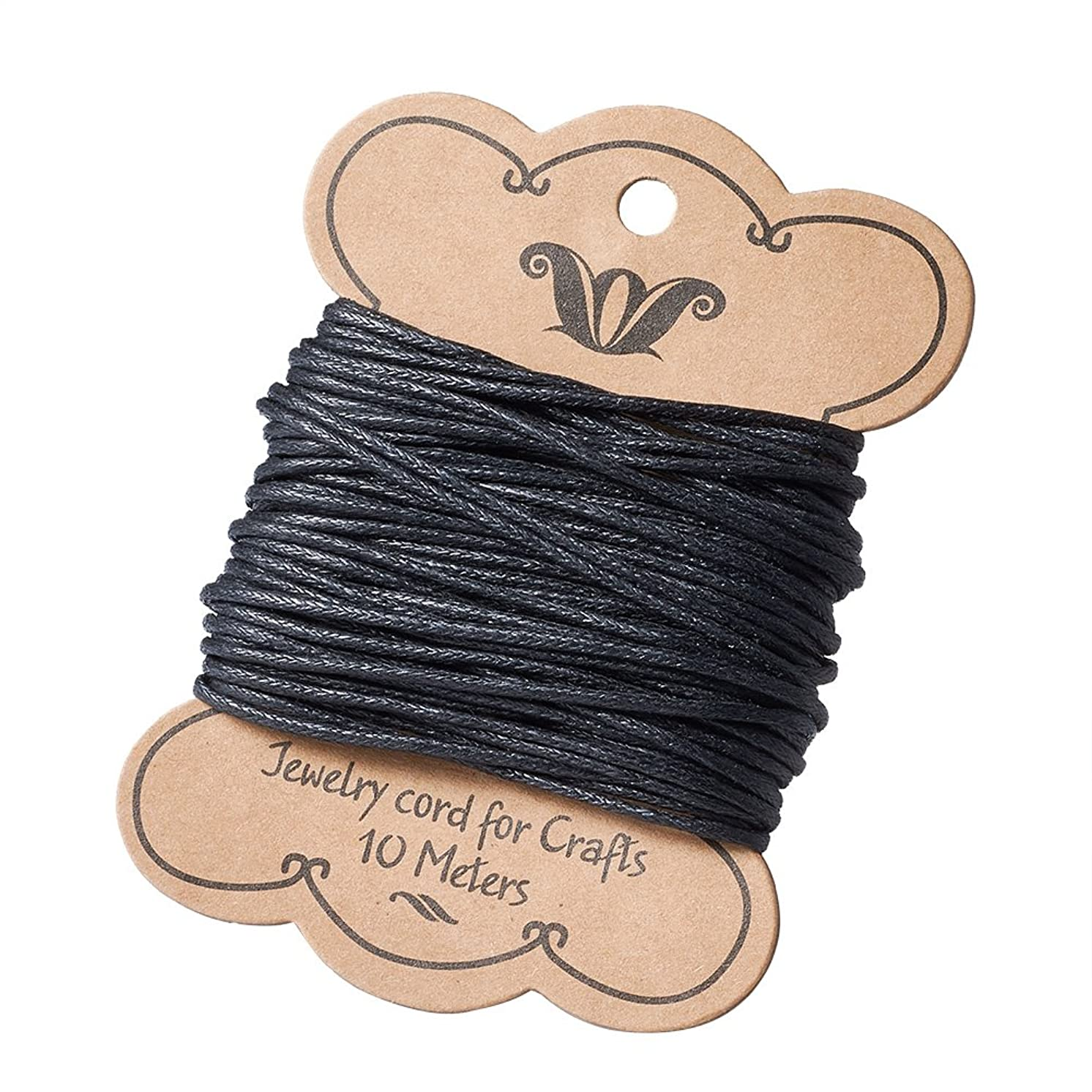 Pandahall 11Yards/10M 1.2mm Cotton Polyester Waxed Cord Macrame String Linen Thread Wire Black Jewelry Making Beading Necklace Making Leathercraft Supplies