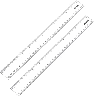 eBoot Plastic Ruler Straight Ruler Plastic Measuring Tool 12 Inches, 2 Pieces (Clear)