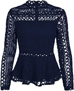 SUNJIN ARCO Women's Elegant Lace Tops Hollow Out Long Sleeve Peplum Hem Shirt Sheer Blouse