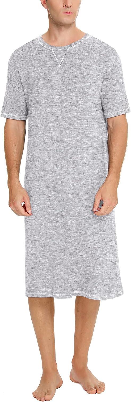 SWOMOG Men's Nightshirt Short Sleeve Crewneck Modal Nightgown Soft Comfy Sleep Shirt