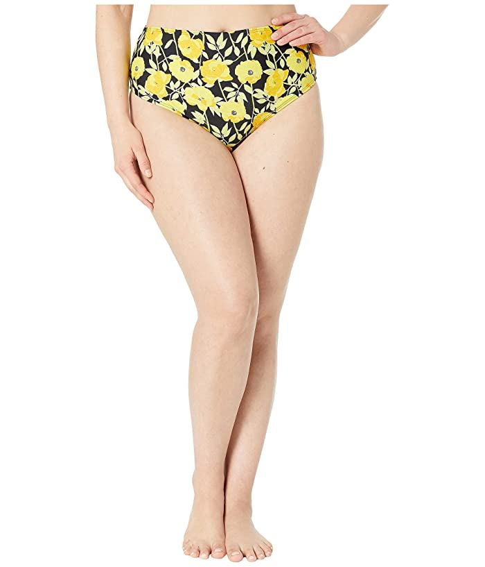 Unique Vintage Plus Size Daphne Swim Bottoms (Yellow Poppy Print) Women