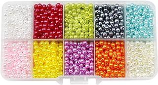 ZoZoMaiy 2000 Pièces 4 mm Perles de Verre Rondes, Rondes de Verre Lisses Perles, pour DIY Fabrication de Bijoux Collier Br...