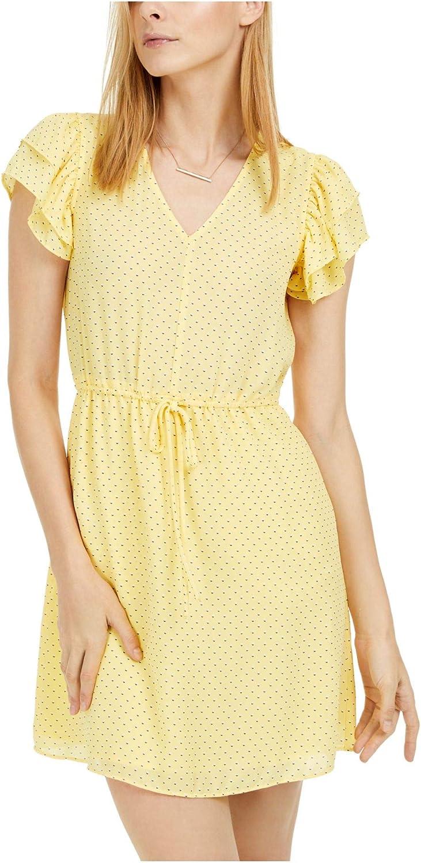 Maison Jules Womens Flutter Sleeve Tie Waist Casual Dress Yellow
