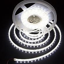 LEDMY White Led Strip Lights 12V,16.4Ft Dimmable Light Strips, 6000K Bright Daylight White, 300LEDs 3528 Waterproof Led Ta...
