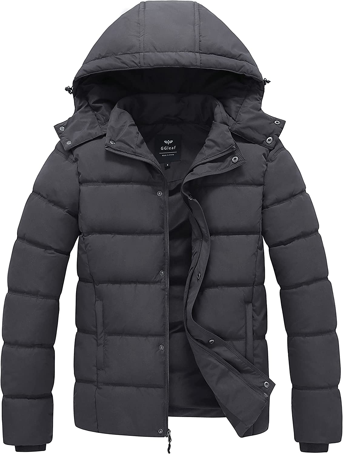 GGleaf Men's Hooded Winter Coat Warm Puffer Jacket Thicken Cotton Coat with Removable Hood