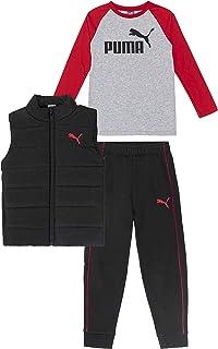 PUMA boys Set 3 Piece Vest Jogger Longsleeve T Shirt