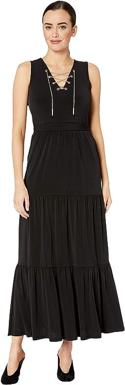 Chain Lace-Up Maxi Dress