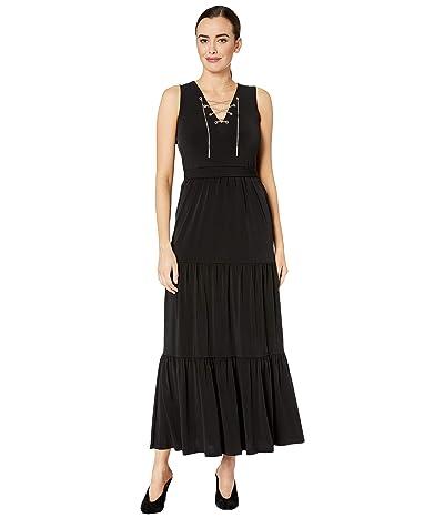 MICHAEL Michael Kors Chain Lace-Up Maxi Dress (Black) Women