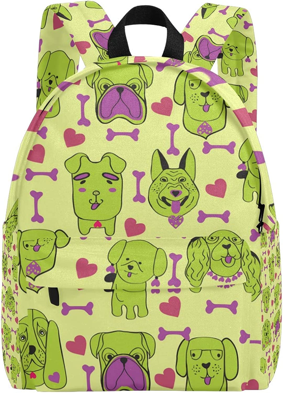 Classic Puppies Dog with Pet Dogs School Backpack Casual Daypack for Travel with Bottle Side Pockets