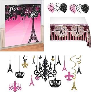 Amscan 4 Piece Paris Theme Party Room Decorations with Glitter Chandelier Bundle
