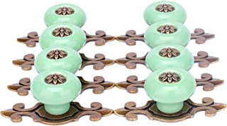 SunKni 8 Pack Knobs for Dresser Drawers Ceramic Door Knobs for Cabinets Vintage Knobs for Desk Drawers Bathroom Cabinets Kitchen Cupboards Furniture Pulls and Knobs with Backplate Round (Bronze-Green)