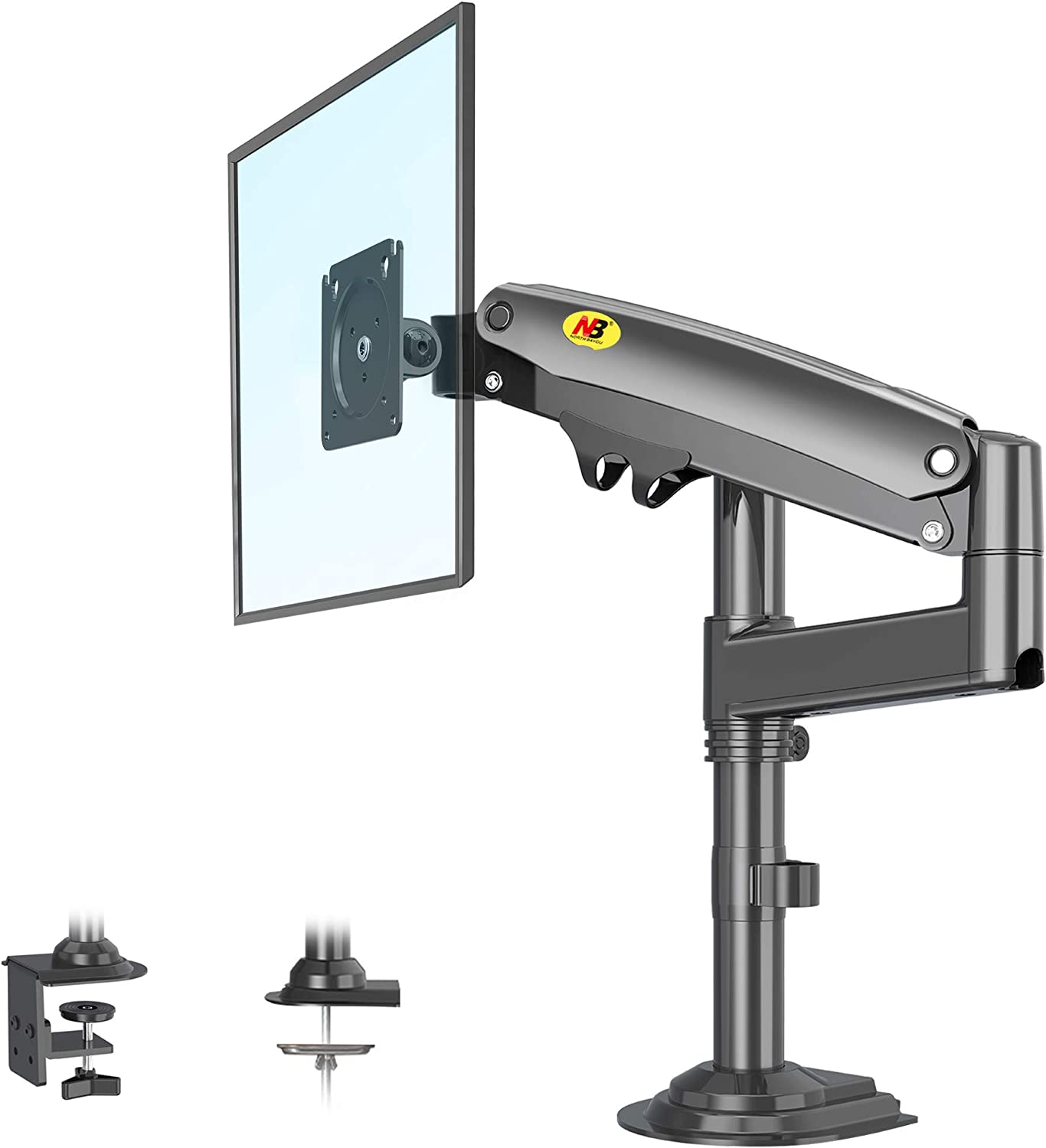 NB North Bayou Monitor Desk Mount Long Arm for 22''-35''Monitors from 6.6 to 26.4lbs Ultra Wide Full Motion Swivel Height Adjustable Monitor Stand H100-B