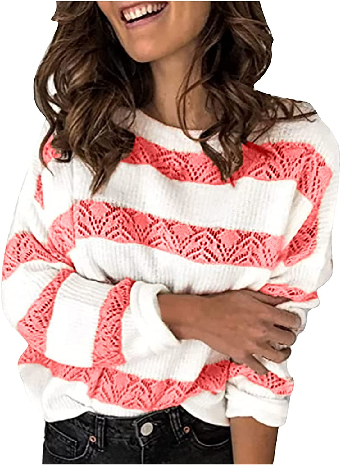 Women's Lace Crochet Sweater We OFFer Ultra-Cheap Deals at cheap prices Stripe Loose Splic Casual Pullover