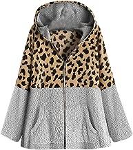 Mlide Womens Plush Coat Overcoats Fashion Zipp Hodeies Faux Fur Fashion Leopard Print Winter Outwear Jackets
