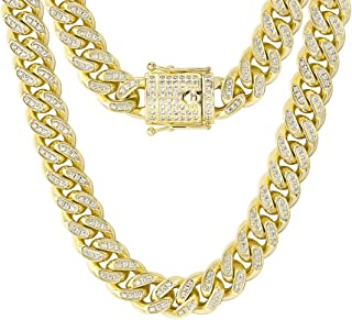 KRKC&CO 14mm Iced Cuban Link Chain, 14k Gold Miami Cuban Link Curb Chain for Men, Durable and Anti-Tarnish Urban Street-we...