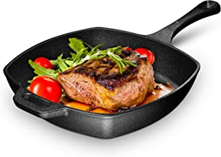10 Inch Square Cast Iron Grill Pan. Pre-seasoned Grill Pan with Easy Grease Draining for Grilling Bacon, Steak, and Meats,...